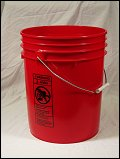 5 Gallon Red  Plastic Pail